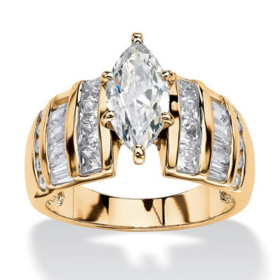 Diamonart Womens 3 3/4 CT. T.W. Marquise White Cubic Zirconia 14K Gold Over Silver Engagement Ring