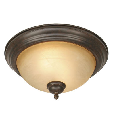 Riverton Flush Mount in Peppercorn with Linen Swirl Glass