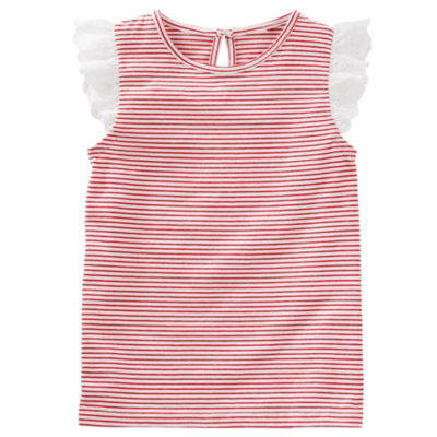 Oshkosh Short Sleeve Red Stripe Top-Toddler Girls