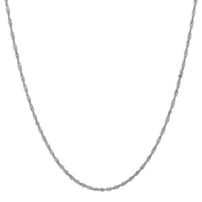 14K White Gold Solid Singapore 16 Inch Chain Necklace