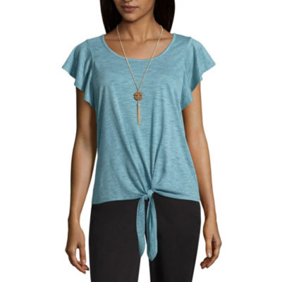 by&by Womens Round Neck Short Sleeve Blouse-Juniors
