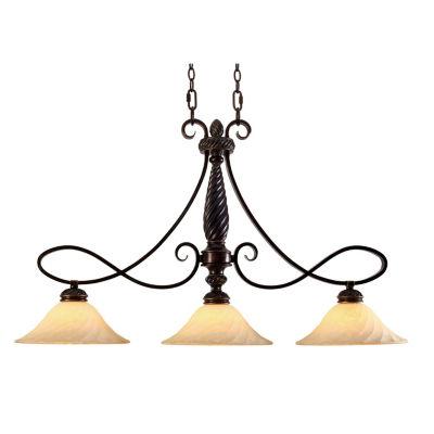 Torbellino 3-Light Linear Pendant in Cordoban Bronze with Remolino Glass