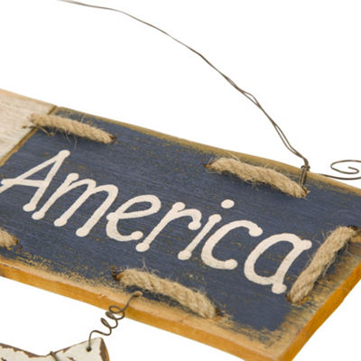 """God Bless America"" Wooden Word Wall Sign"
