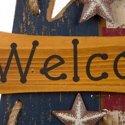 Patriotic Wooden Star Welcome Wall Decor