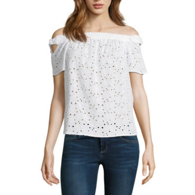 by&by Short Sleeve Straight Neck Eyelet Blouse-Juniors
