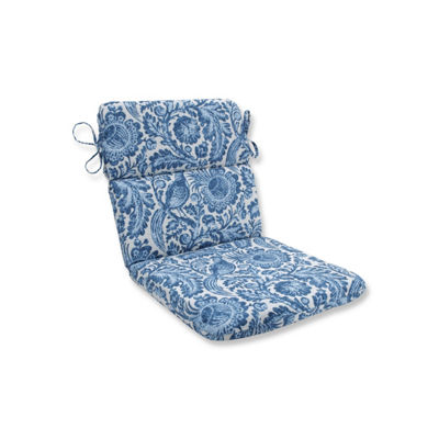 Pillow Perfect Tucker Resist Azure Rounded Corners Patio Chair Cushion