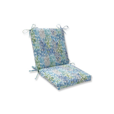 Pillow Perfect Make It Rain Cerulean Squared Corners Patio Chair Cushion