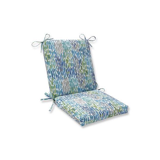 Pillow Perfect Make It Rain Cerulean Squared Corners Patio Chair Cushion