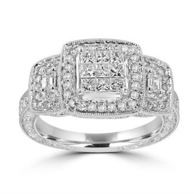 Womens 1 CT. T.W. Multi-Shape White Diamond 14K Gold Engagement Ring
