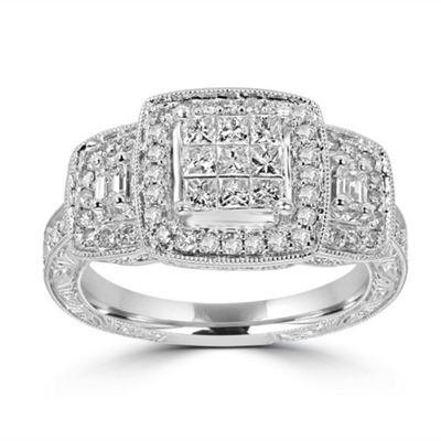 Womens 1 CT. T.W. White Diamond 14K White Gold Engagement Ring