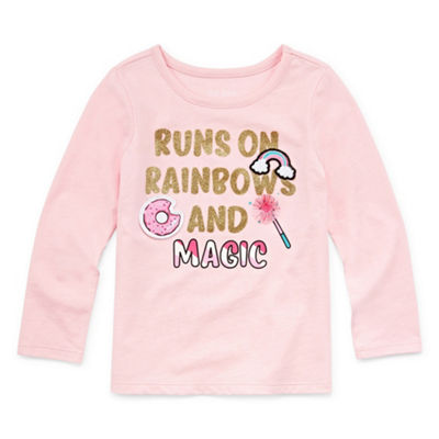 Okie Dokie Girls Crew Neck Long Sleeve Graphic T-Shirt-Toddler