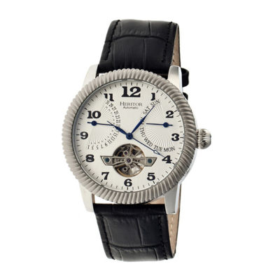 Heritor Automatic Piccard Mens Semi-Skeleton Leather Date-Silver Tone Watch