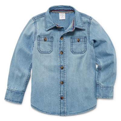Peyton & Parker Long Sleeve Button-Front Shirt-Toddler Boys