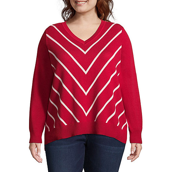 cbc3662911 Liz Claiborne Chevron Pullover Sweater- Plus - JCPenney