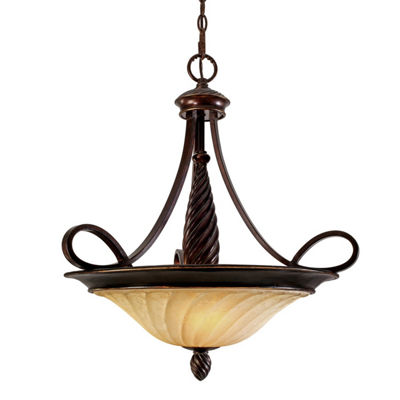 Torbellino 3-Light Pendant in Cordoban Bronze with Remolino Glass