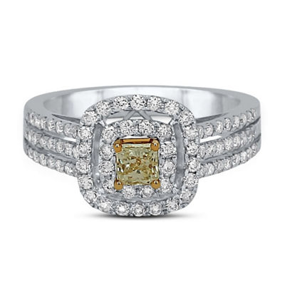 Womens 1 CT. T.W. Genuine Multi Color Diamond 14K Two Tone Gold Engagement Ring
