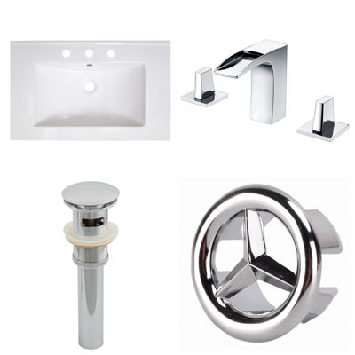 30-in. W 3H8-in. Ceramic Top Set In White Color -CUPC Faucet Incl.  - Overflow Drain Incl.