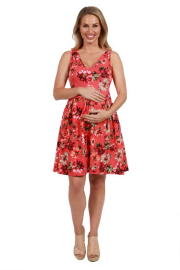 24Seven Comfort Apparel Floral Maternity Mini Dress
