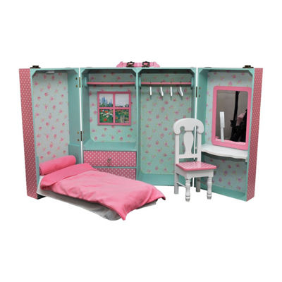 The Queen's Treasures 18 Inch Doll Trunk Bed; Desk; Chair; Bedding