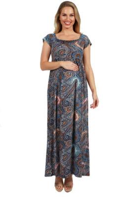 24Seven Comfort Apparel Emilia Paisley Empire Waist Maternity Maxi Dress