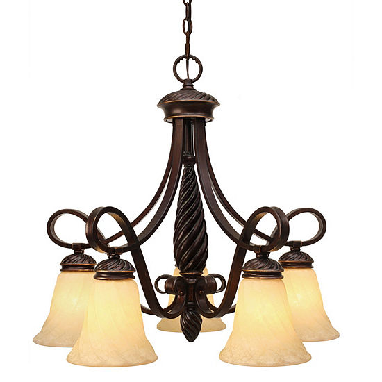 Torbellino 5-Light Nook Chandelier in Cordoban Bronze with Remolino Glass