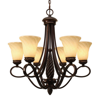 Torbellino 6-Light Chandelier in Cordoban Bronze with Remolino Glass