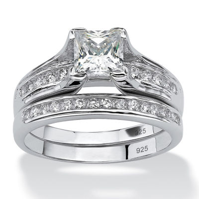 Diamonart Womens 1 7/8 CT. T.W. White Cubic Zirconia Platinum Over Silver Square Bridal Set