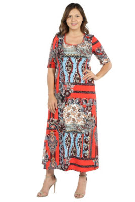 24Seven Comfort Apparel Morgana Red and Turquoise Maxi Dress - Plus