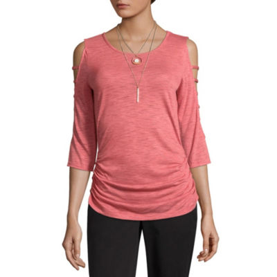 by&by Long Sleeve Round Neck Jersey Blouse-Juniors