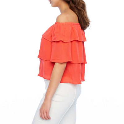 Bold Elements Tiered Off The Shoulder Top