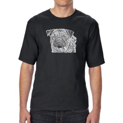Los Angeles Pop Art Men's Tall and Long Word Art T-shirt - Pug Face