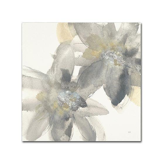 Trademark Fine Art Chris Paschke Gray and Silver Flowers II Giclee Canvas Art