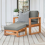 Outdoor Open Side Chair and Ottoman with Cushions
