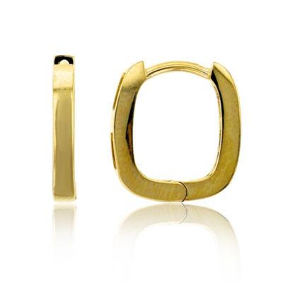 14K Gold 12mm Rectangular Hoop Earrings