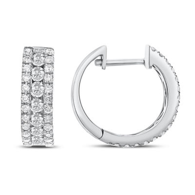 1 CT. T.W. Genuine White Diamond 14K White Gold 13.5mm Hoop Earrings