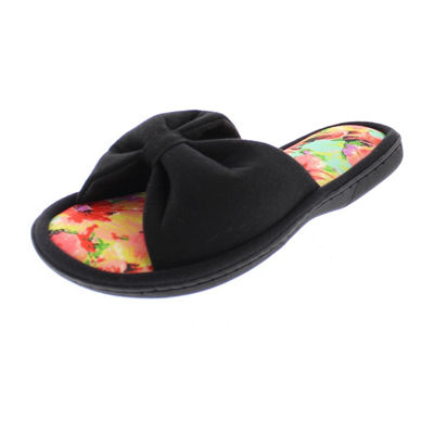 Gold Toe Floral Bow Slip-On Slippers