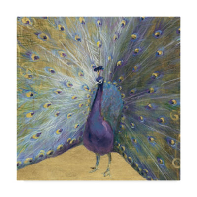 Trademark Fine Art Danhui Nai Purple and Gold Peacock Giclee Canvas Art