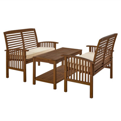 Acacia Wood 3-pc. Patio Conversation Set