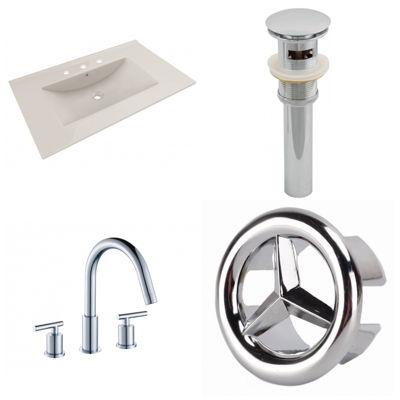 35.5-in. W 3H8-in. Ceramic Top Set In Biscuit Color - CUPC Faucet Incl.  - Overflow Drain Incl.
