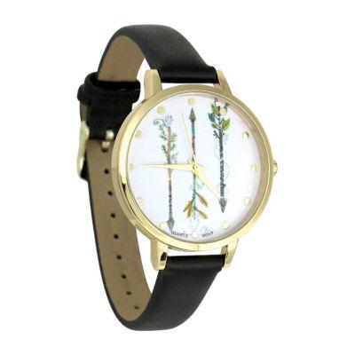 Decree Feather Arrows Dial Womens Black Strap Watch-Pt5461gdbk