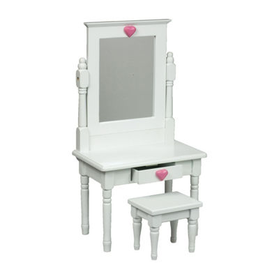 The Queen's Treasures White Vanity Table Desk for 18 Inch Dolls