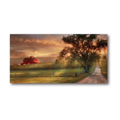 Country Farm Sunset Canvas Wall Art