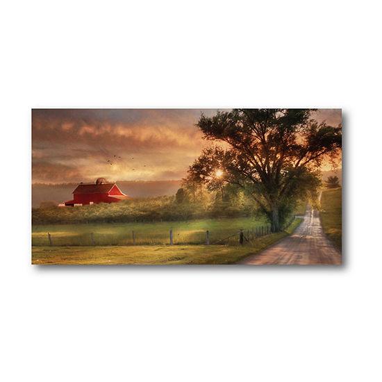 Country Farm Sunset Canvas Wall Art