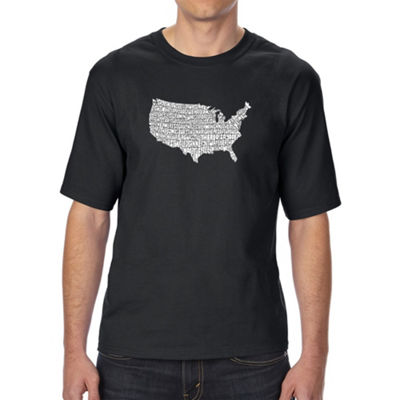 Los Angeles Pop Art Men's Tall and Long Word Art T-shirt - THE STAR SPANGLED BANNER