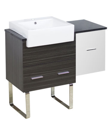 36.75-in. W 18-in. D Modern Plywood-Melamine Vanity Base Set Only In White-Dawn Grey