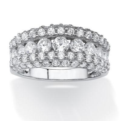 Diamonart Womens 1 1/4 CT. T.W. White Cubic Zirconia Platinum Over Silver Round Engagement Ring