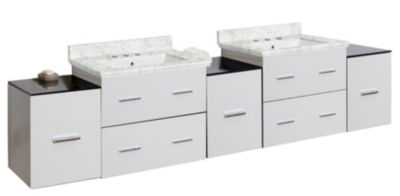 88.5-in. W Wall Mount White Vanity Set For 3H8-in.Drilling Bianca Carara Top Biscuit UM Sink