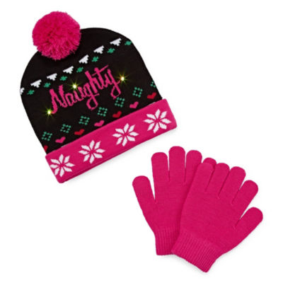 Capelli of N.Y. Naughty Light Up Hat and Glove Set-Big Girls