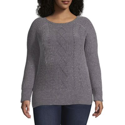 Derek Heart Long Sleeve Round Neck Pullover Sweater-Juniors Plus