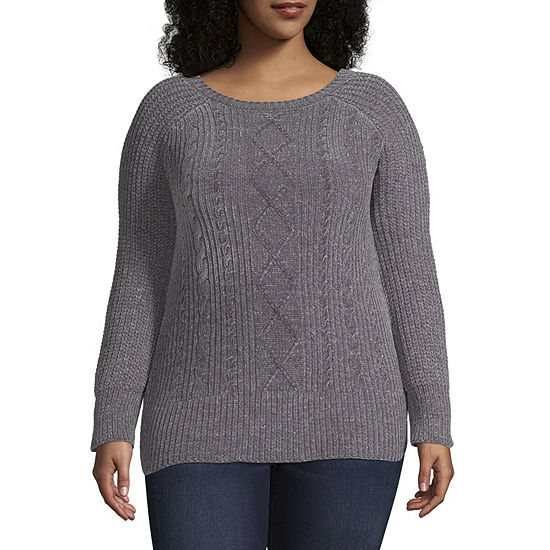 Derek Heart Long Sleeve Round Neck Pullover Sweater Juniors Plus